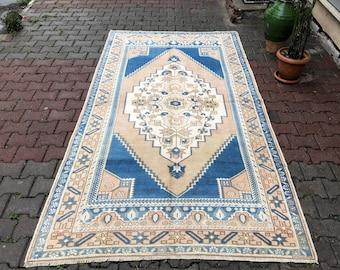 5X9 Neutral Oushak rug, Vintage rug, Handknotted rug, Faded rug, 9.1x4.9ft, faded beige rug, mutted color rug, Turkish rug,Carpet rug,