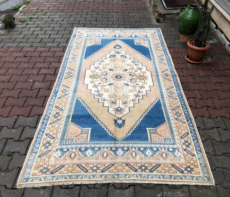 5X9 Neutral Oushak rug Vintage rug Handknotted rug Faded image 0