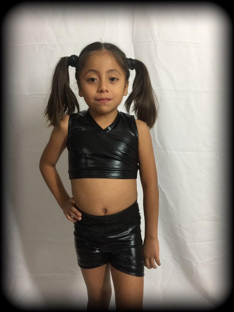 Short/crop top black for little girls | Etsy