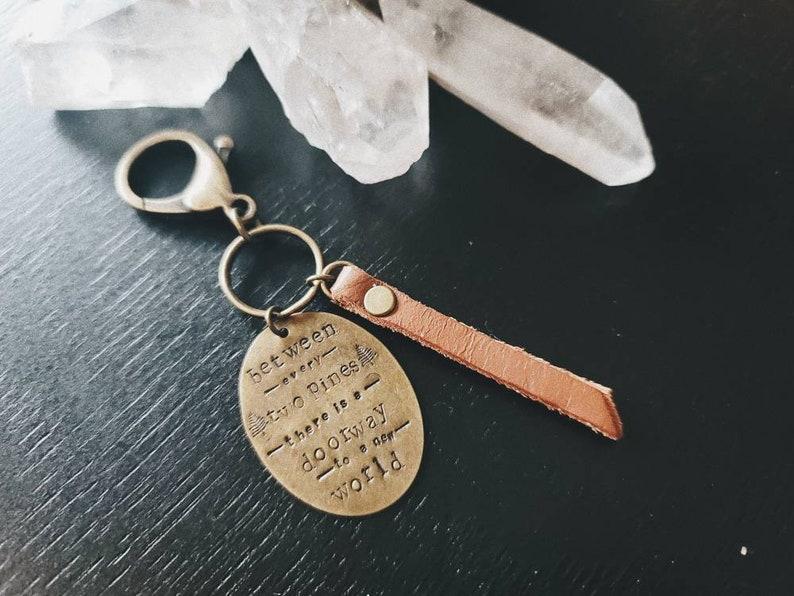 Brass Leather Keychain Adventure Keychain