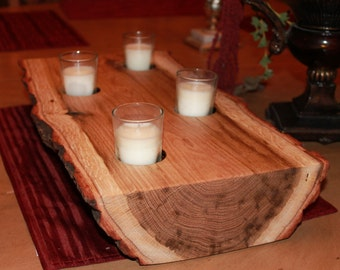 Natural Rustic Wood Candle Holder, Tealight candle