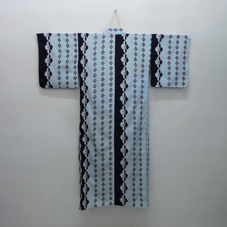 Japanese Yukata Summer Kimono Cotton Robe Striped Motifs of Floral Flowers Abstract Geometric Boho Art 200319-02