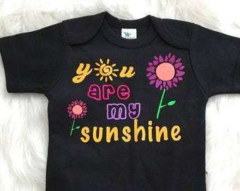 You are My Sunshine - Customized One Piece Bodysuit Outfit Baby Girl Infant Toddler Shirt Raglan Top