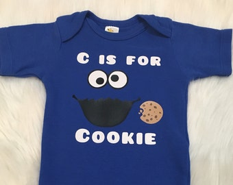 C is For Cookie - Customized One Piece Body Suit Onesie Leg Warmers Outfit Baby Boy Baby Girl Infant Raglan 3/4 Sleeve Shirt Top