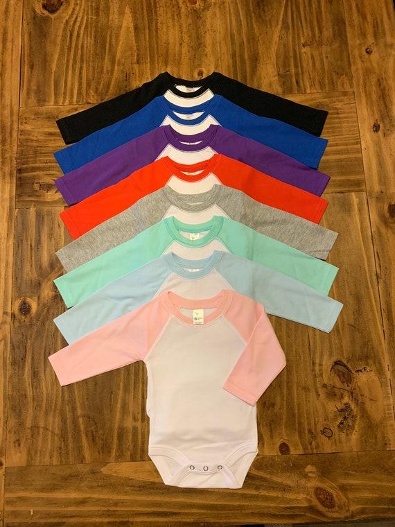 LIGHT PURPLE Toddler//Youth Girl/'s Ruffle Raglan Baseball Blank T-Shirt HTV