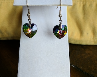 Swarovski vitrail medium crystal heart dangle earrings