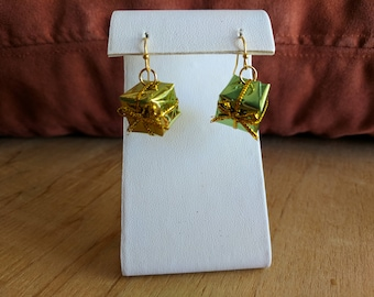 Gold and green Christmas presents dangle earrings