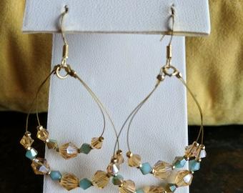 Tan and blue Swarovski crystal hoop earrings