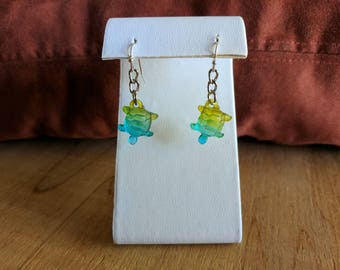 yellow,green,and blue turtle dangle earring