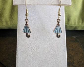 blue umbrella dangle earrings