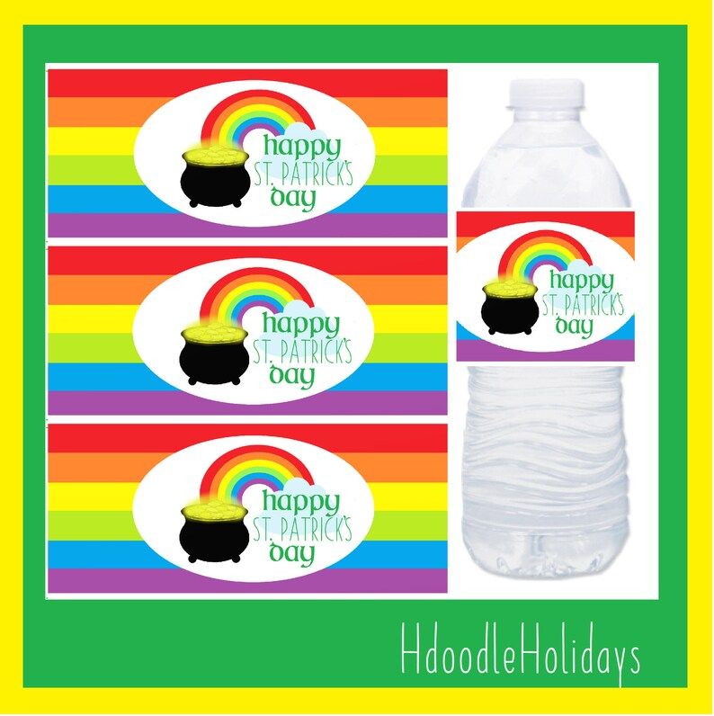 DIGITAL Rainbow St Patrick/'s Day Water Bottle Labels Napkin Rings Instant Download Irish Holiday Party Supplies