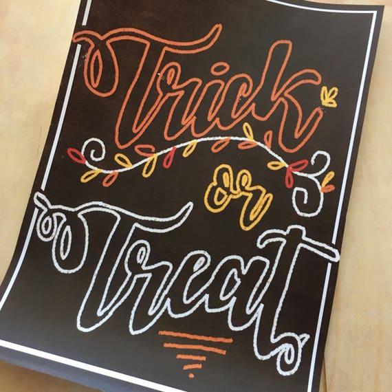 DIGITAL Trick or Treat Pdf Instant Download Chalkboard Sign | Etsy