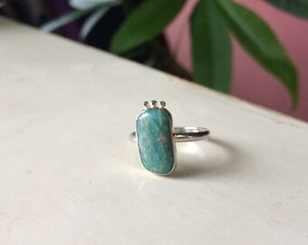 Ethically sourced Canadian Amazonite Ring, Ready to Ship size 7 1/2