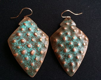 Hammered Shield Earrings with Stippled Texture - S0001