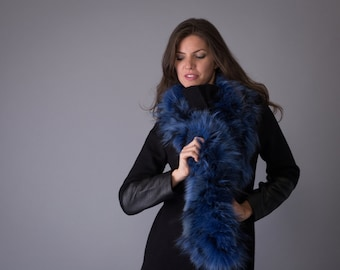 Infinity Blue color fox fur scarf. Women's Fashion Fur Scarf.
