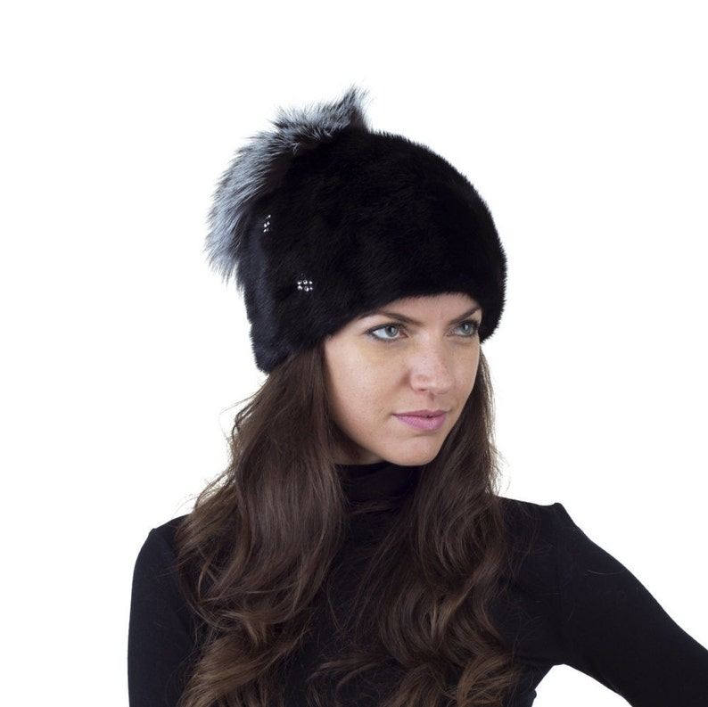 ccb77237e0a1a Mink hat styled at crown with silver fox fur. Real Mink and