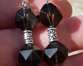 Faceted Smokey Quartz Earrings With Sterling Silver Hooks