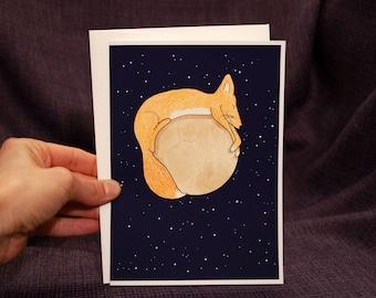Greeting Card-Fox on Moon (blank card, cute cards, animal cards, celestial)