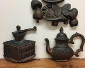 Vintage Dart Industries Kitchen Decor Set of 3 Wall Art Coffee Grinder - Coffee Pot - Mushrooms