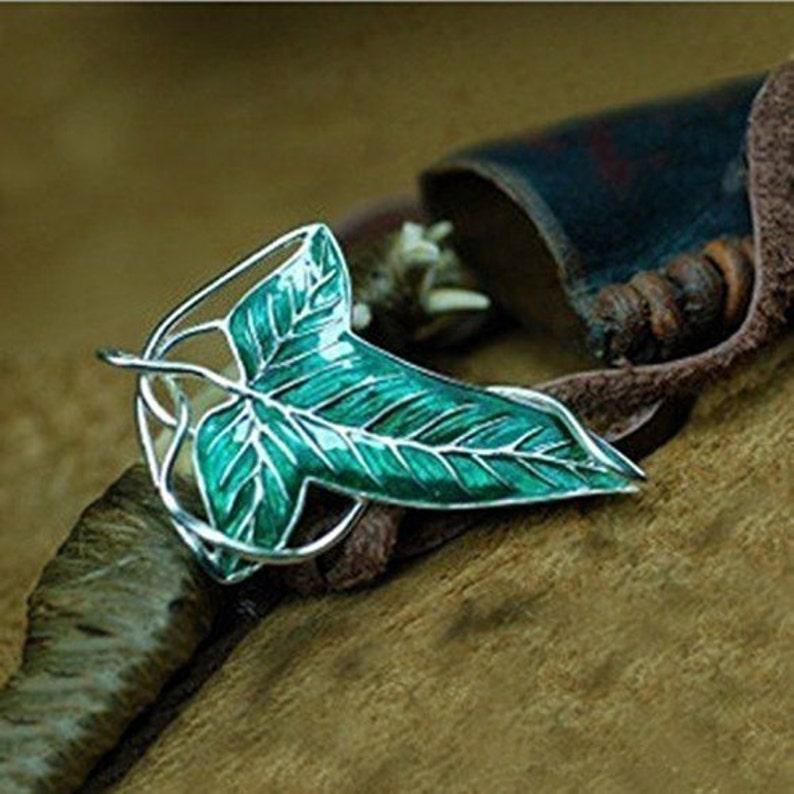 Nice Gift Green Leaf Elven Pin Brooch Pendant image 0