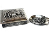 Box Ashtray Silver Set Cigarette 1890 Tavern Rembrandt Scenery Embossed Pill Snuff Dutch Antique Van Kempen Mark Trinket Boulevard Vintage