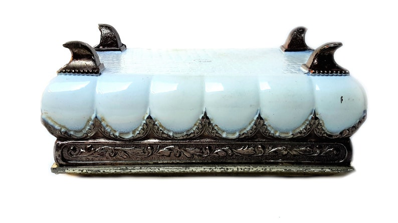 Antique Trinket Box 1840 Charming Handmade Bakelite Lidded Footed Man Woman Fun Love Stash Victorian Jewelry Valentine Bin Boulevard Vintage