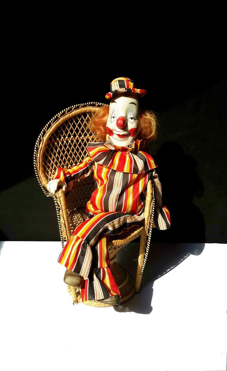Marionnette Clown Tete Et Pieds En Porcelaine A Fils