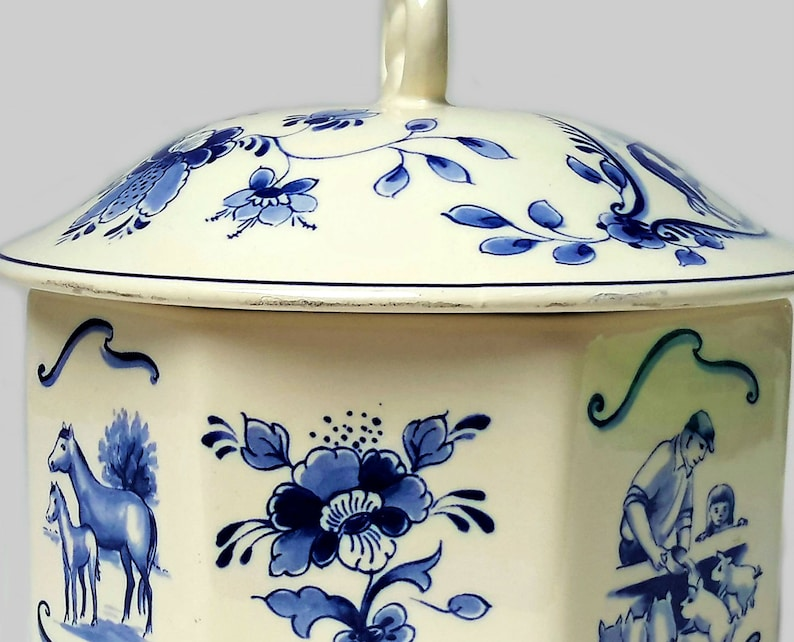 Delft Blue Bowl Delft Lidded Pot Jar with Lid by Delft Regina Delft Ginger Jar Blue and White Delft Decor Dutch Landscape Delft Windmill