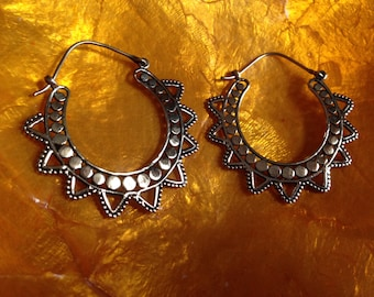 Aztec brass earrings