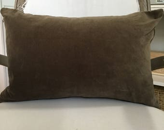 """Washed Velvet Pillow Cover 14"""" x 22"""" Brown"""