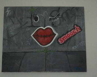 Smooch graffiti lips