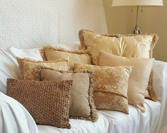 CREME BRULEE - 7 Piece vintage cream and gold pillow set
