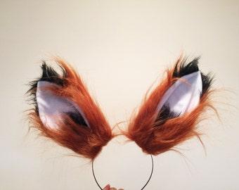 Red Brown Black Fox Ears Long fur Cosplay Animal Furry Bunny ears Rabbit