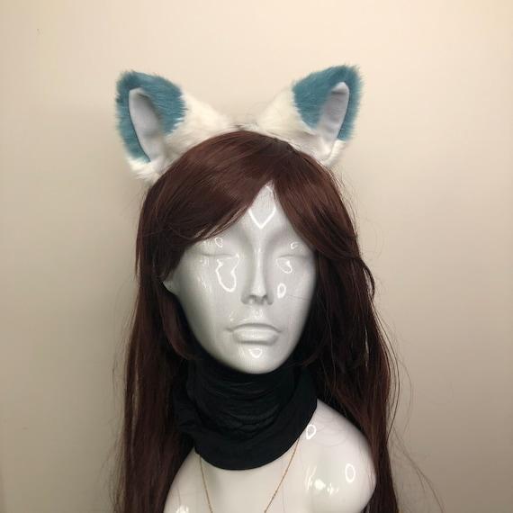 Cat ears Kitty Headwear White Furry Beige inside Animal Headband Costume Bow Bells