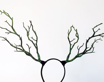 Black Green Branch Horn Demon Nymph Horn Headdress Antlers