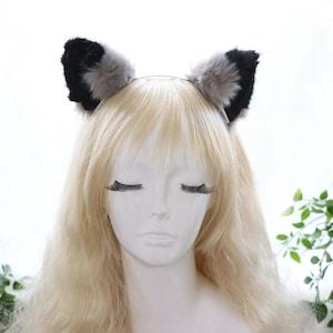 Details about  /Big Cat Fox Ears Kitty Headwear Brown Furry Brown Inside Animal Headband Costume