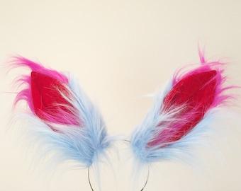 Blue Fox Ears long fur Harley Quinn Cosplay Animal Furry Bunny ears Rabbit Judy Realistic