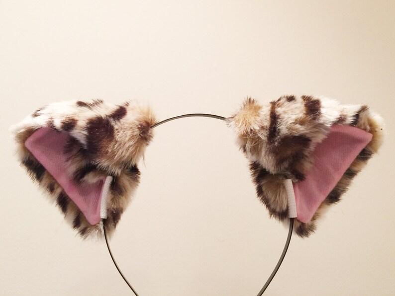 Cat ears Leopard Headwear pattern pink inside  Furry Animal