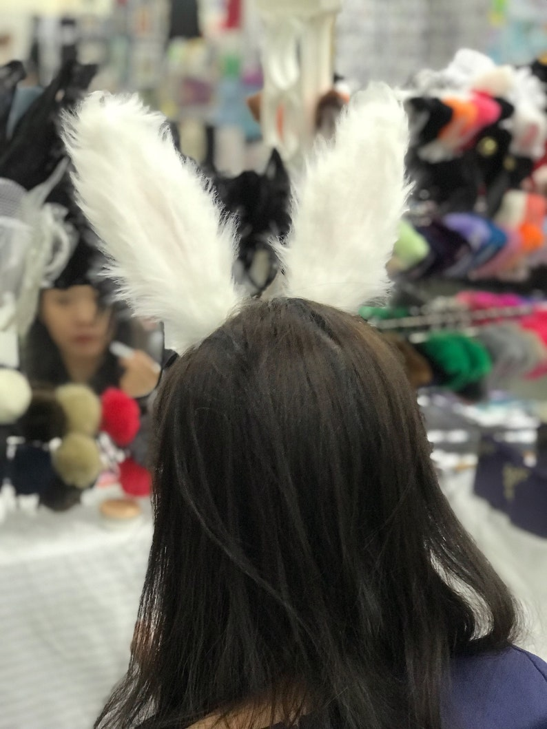 White Pink Rabbit Ears Bunny Ears Short fur Cosplay Animal Furry Costume Halloween NALUMI