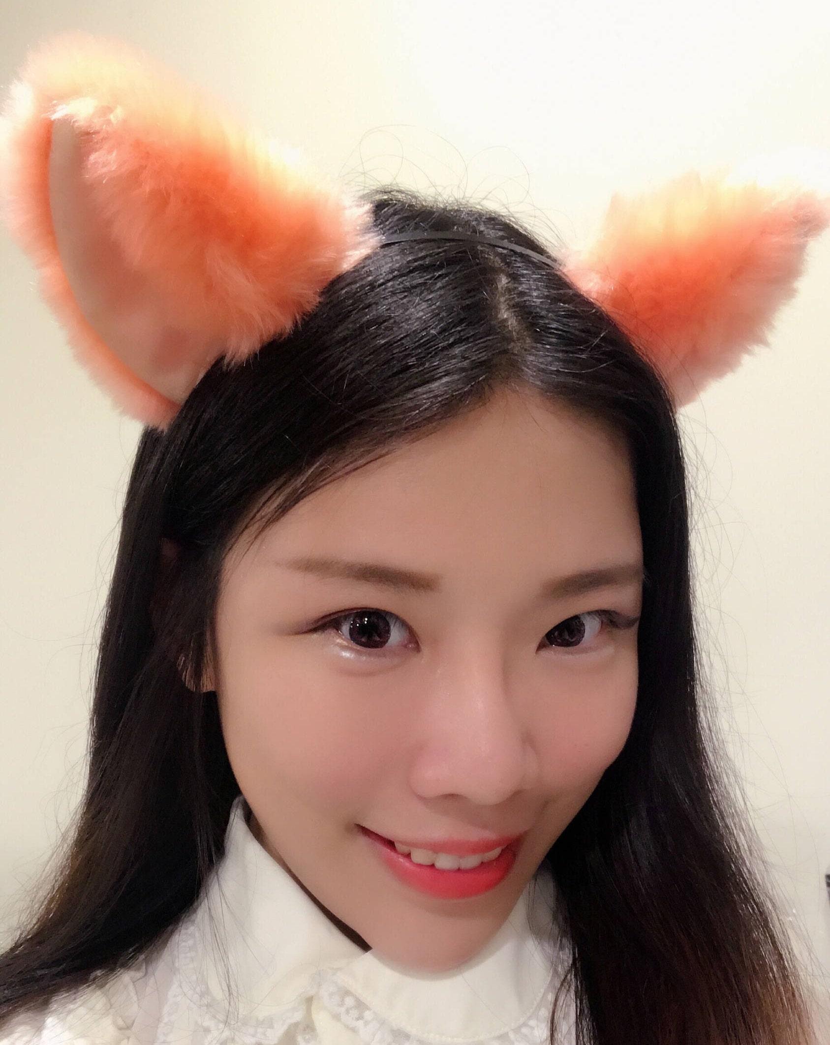 Big Cat ears Kitty Headwear Light Orange Furry Animal Headband Costume Bow Bells