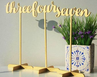 Sale Gold Table Numbers. Wood Table Numbers.Gold Table Numbers.SALE Gold Wedding Table Numbers with base.Wedding Numbers.