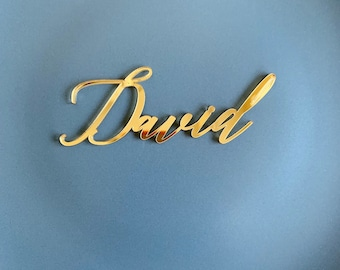 Gold mirror acrylic personalized wedding laser cut name place cards for guests and bride groom, for wedding or party table place name card