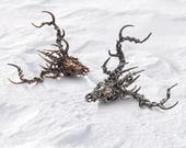 925 Sterling Silver Stag Buck Skull Deer Pendant with Antlers and Crown of Thorns - Fantasy Hunter Necklace