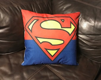 "DC Comics Superman ""S"" Emblem Logo Clark Kent Inspired 18x18 inch Pillow"
