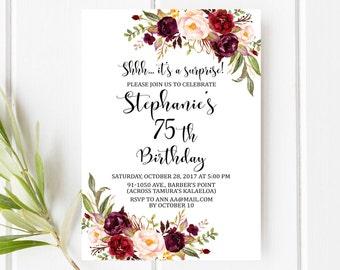 75th Birthday Invitation Floral Surprise Marsala Winter Invite Red