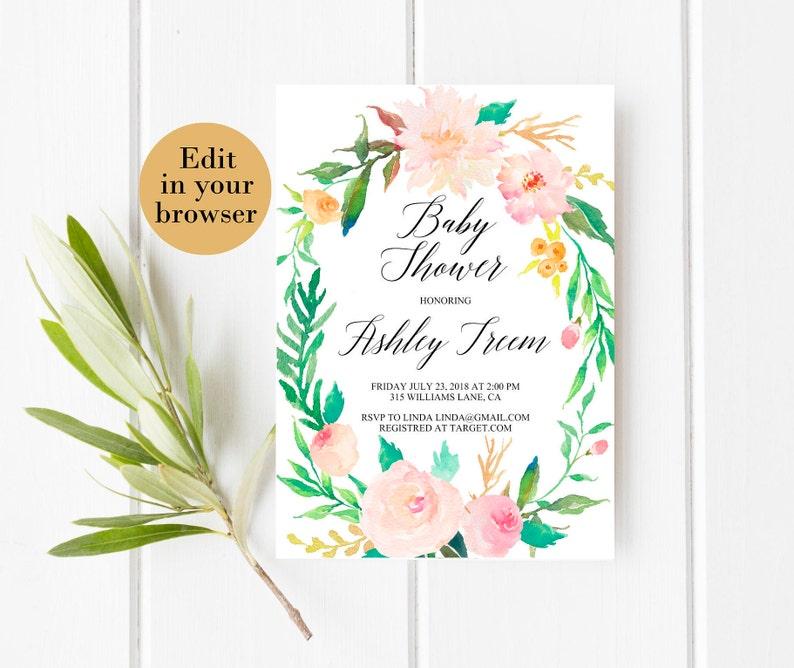 Editable baby shower invite baby shower template Greenery Baby shower Pink Baby Shower Instant Download baby Girl baby shower Elegant shower