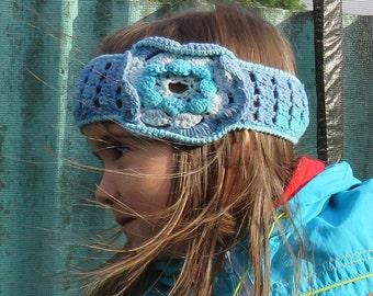 Summer cotton  headband crochet headband hair accessory girl women headband flower knit blue headband crochet little girl flower headband