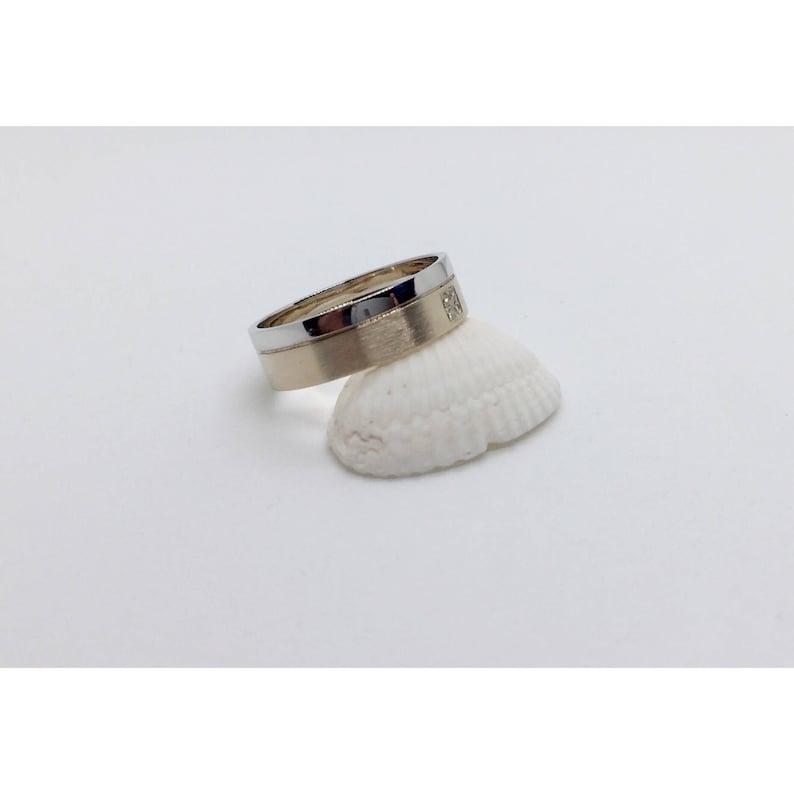 Wedding Rings 14K Gold Ring Wedding Bands 2 Tone 14K Gold with Diamonds Wedding Ring