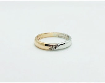 Married 14 k White and Rose Gold  - Two Tone Round Wedding Band 3.6 widths