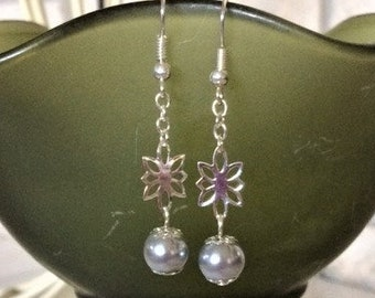 Gray Pearl and Silver Flower Dangle Earrings; Pearl and Flower Dangle Earrings; Silver Flower Earrings; Gray Pearl Earrings